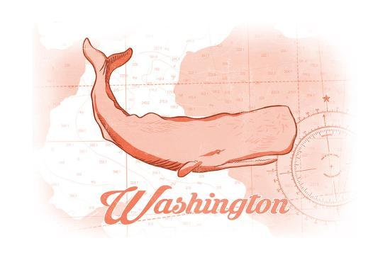 Washington - Whale - Coral - Coastal Icon-Lantern Press-Art Print