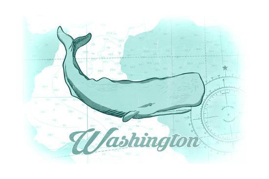 Washington - Whale - Teal - Coastal Icon-Lantern Press-Art Print