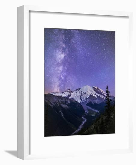 Washington, White River Valley Looking Toward Mt. Rainier on a Starlit Night with the Milky Way-Gary Luhm-Framed Photographic Print