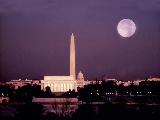 Washington with a Full Moon-Lyle Leduc-Photographic Print