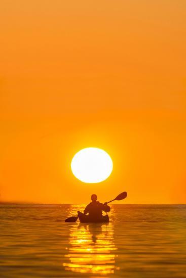 Washington, Woman Sea Kayaker Paddles on Puget Sound Near Deception Pass Bridge-Gary Luhm-Photographic Print
