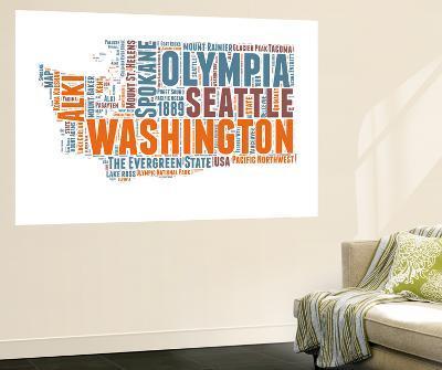 Washington Word Cloud Map-NaxArt-Wall Mural