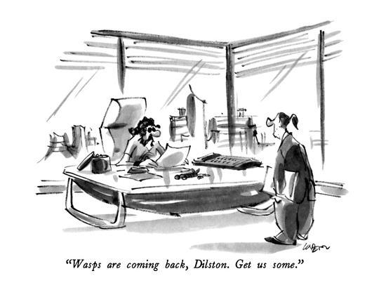 """Wasps are coming back, Dilston.  Get us some."" - New Yorker Cartoon-Lee Lorenz-Premium Giclee Print"