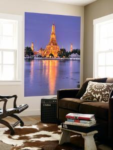 Wat Arun, Buddhist Temple Reflects in River at Dusk, Bangkok, Thailand