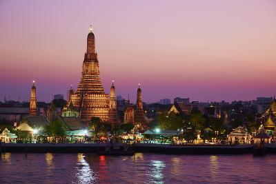 Wat Arun (Temple of the Dawn) and the Chao Phraya River by Night, Bangkok, Thailand--Photographic Print