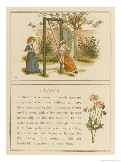 Watched by a Companion a Girl Swings in a Garden-Kate Greenaway-Giclee Print