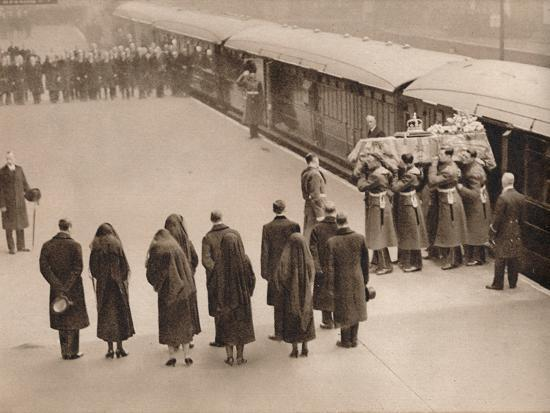'Watching the coffin, covered by the Royal Standard', 1936-Unknown-Photographic Print