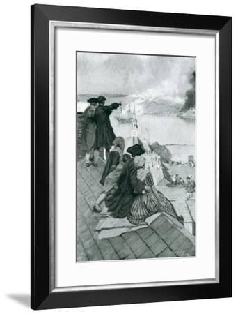 "Watching the Fight at Bunker Hill, Illustration from ""Colonies and Nation"" by Woodrow Wilson-Howard Pyle-Framed Giclee Print"