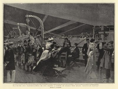 Watching the Illuminations of the Fleet, a Scene on Board the Liner Kiidonan Castle-Frederic De Haenen-Giclee Print