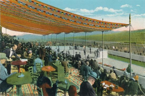 'Watching the Races in front of Club House, Agua Caliente Jockey Club', c1939-Unknown-Giclee Print