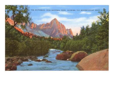 Watchman, Zion Park, Makuntuweap River, Utah--Art Print