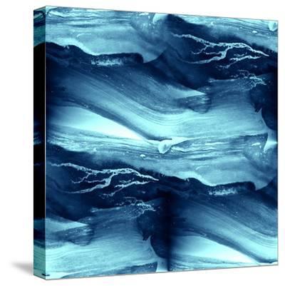 Water Blue Sea Waves Watercolor-maxim ibragimov-Stretched Canvas Print