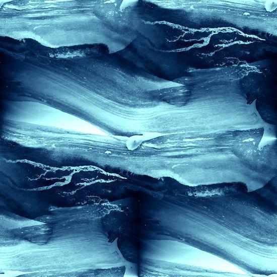 Water Blue Sea Waves Watercolor-maxim ibragimov-Art Print
