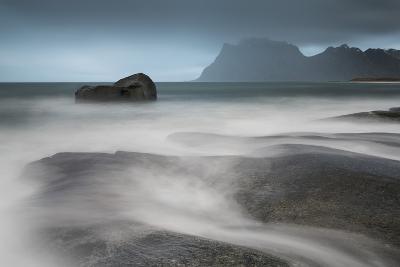 Water Breaks over Rocks at Uttakleiv, Lofoten Islands, Arctic, Norway, Scandinavia, Europe-David Clapp-Photographic Print