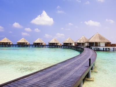 Water bungalows and jetty-Frank Lukasseck-Photographic Print