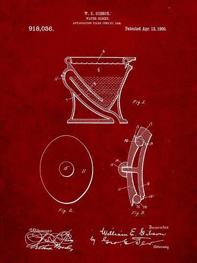 Water Closet Patent-Cole Borders-Art Print
