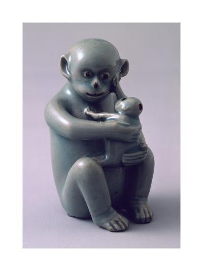Water Dropper Vase in Shape of Monkey Hugging Her Baby Tightly, Korea--Giclee Print