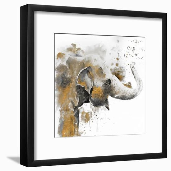 Water Elephant with Gold-Patricia Pinto-Framed Art Print