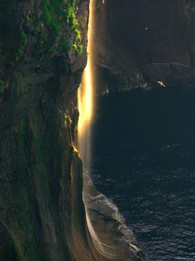 Water Falls at Sunset--Photographic Print