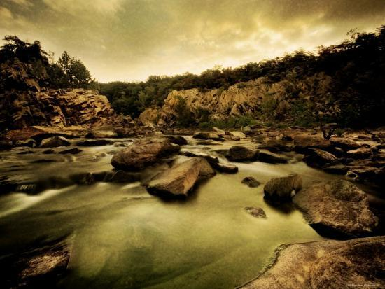 Water Flowing through Rocky Riverbed-Jan Lakey-Photographic Print