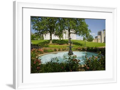 Water fountain and Virginia State Capitol, Richmond Virginia--Framed Photographic Print