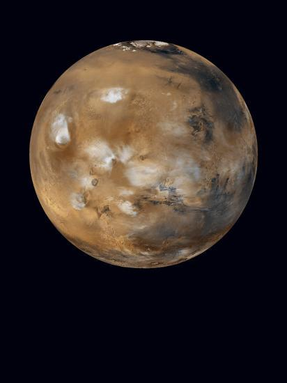 Water-ice clouds drifting over ancient volcanoes on Mars--Photographic Print
