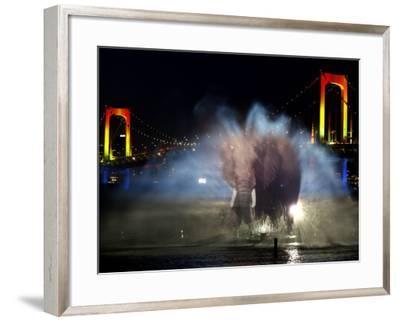 Water Illumination Show With the Backdrop of Illuminated Rainbow Bridge and Tokyo Skyline--Framed Photographic Print