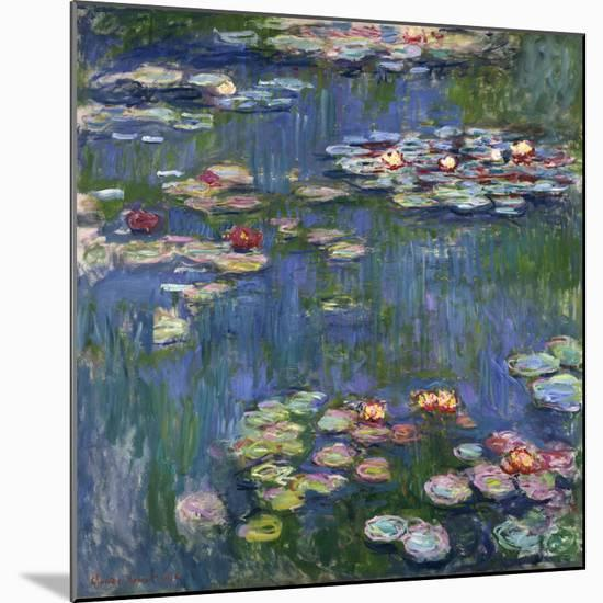 Water Lilies, 1916-Claude Monet-Mounted Giclee Print