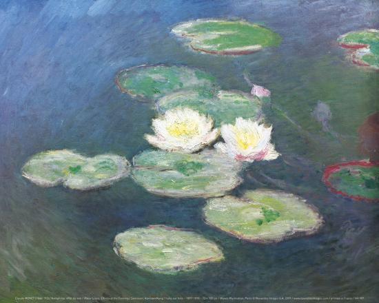 Water Lilies, Effects at the Evening-Claude Monet-Art Print