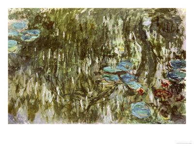 Water Lilies, Reflected Willow, circa 1920-Claude Monet-Giclee Print