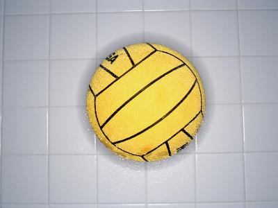 Water Polo Ball on Tile, Overhead View--Photographic Print