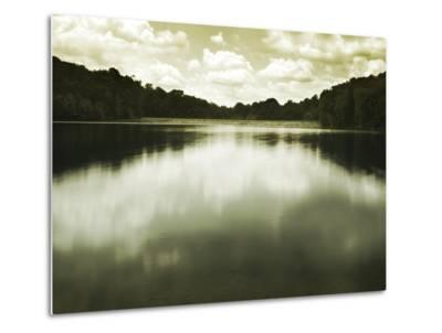 Water Reflecting Bordering Trees and Sky-Jan Lakey-Metal Print