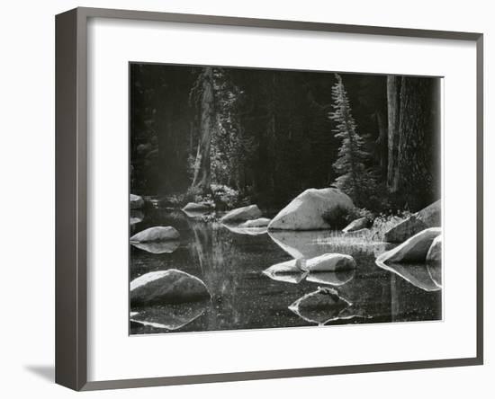 Water, Rock, Tree Reflection, High Sierra, c. 1970-Brett Weston-Framed Photographic Print
