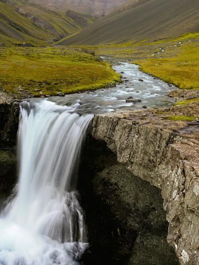 Water Running from Glacier and Waterfall, Iceland-Tom Norring-Photographic Print