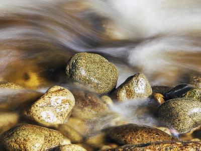 Water rushing past river stones-Frank Krahmer-Photographic Print
