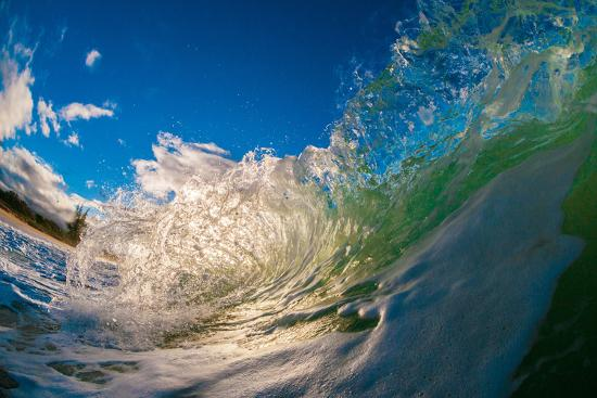 Water shot of a tubing wave off a Hawaiian beach-Mark A Johnson-Photographic Print