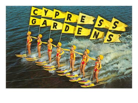 Florida Memory • Pyramid of water skiers at Cypress