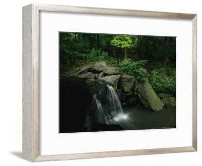 Water Splashes over a Waterfall in a Central Park Wood-Melissa Farlow-Framed Photographic Print
