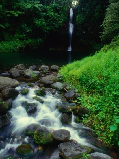 Water Streaming Over Rocks at Olemoe Waterfall, Olemoe Falls, Samoa-Tom Cockrem-Photographic Print