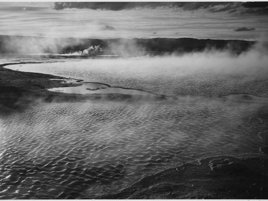 Water Surface Presents A Different Texture, Fountain Geyser Pool Yellowstone NP Wyoming 1933-1942-Ansel Adams-Art Print
