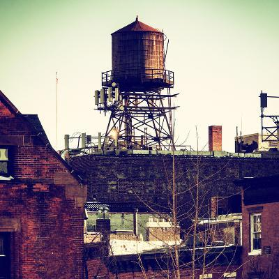 Water Tank on the Roof of Buildings in Manhattan in Winter-Philippe Hugonnard-Photographic Print