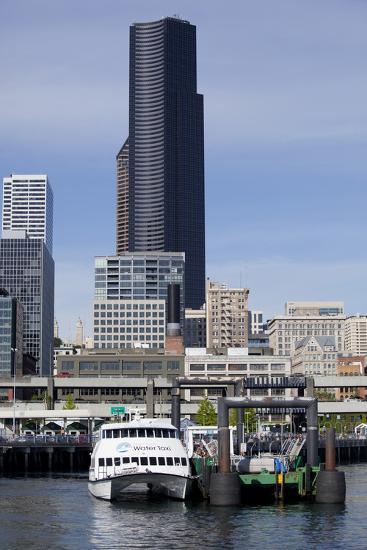 Water Taxi with Skyline, Seattle, Washington, USA-Jamie & Judy Wild-Photographic Print