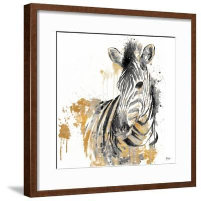 Water Zebra with Gold-Patricia Pinto-Framed Art Print