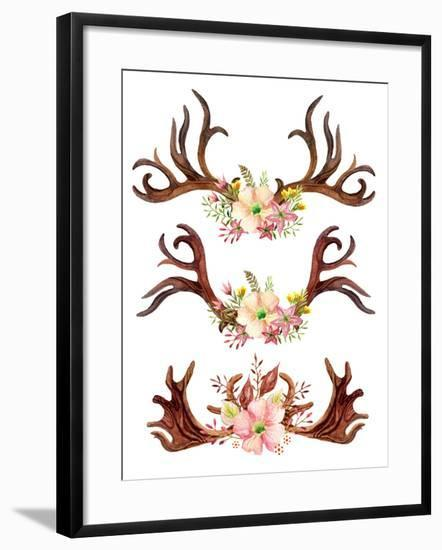 Watercolor Antler with Flowers, Leaves and Herbs-tanycya-Framed Art Print