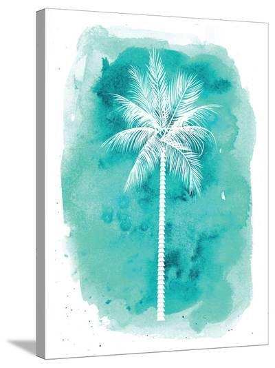 Watercolor Aqua B Palm-Jetty Printables-Stretched Canvas Print
