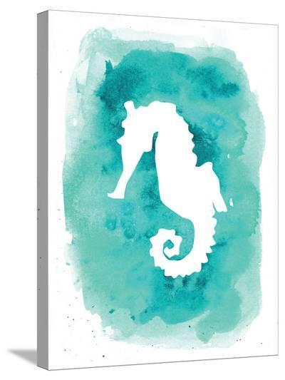 Watercolor Aqua B Seahorse-Jetty Printables-Stretched Canvas Print