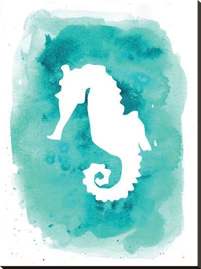Watercolor Aqua B Seahorse-Jetty Printables-Stretched Canvas Print
