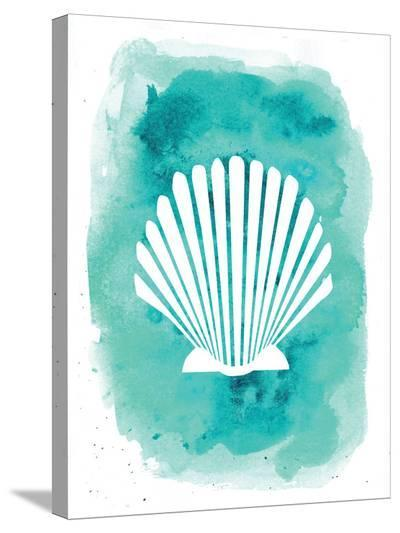 Watercolor Aqua B Shell-Jetty Printables-Stretched Canvas Print