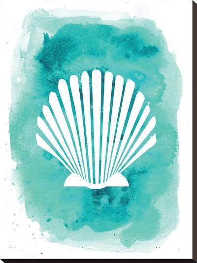 Watercolor Aqua B Shell-Jetty Printables-Stretched Canvas Print