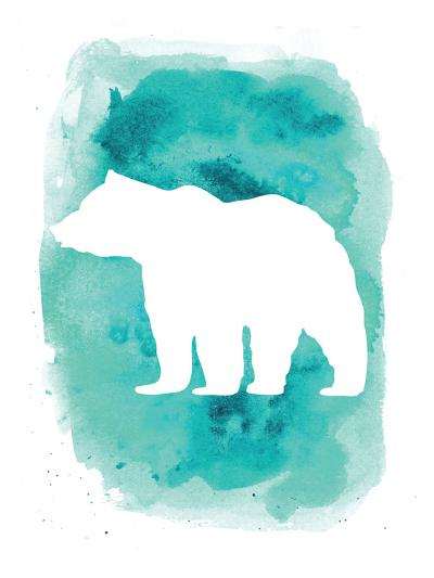Watercolor Aqua Bear-Jetty Printables-Art Print